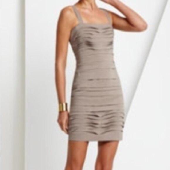 BCBGMAXAZRIA Tiered Taupe Mini Dress